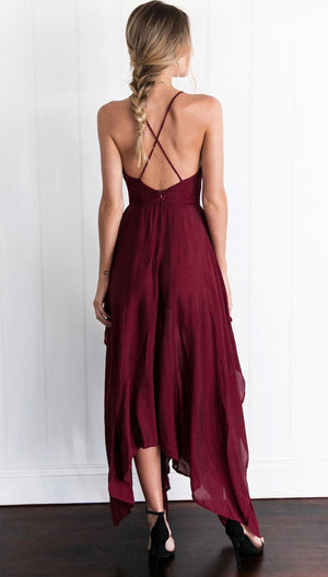 Simple Dark Red High How Side Slit Cheap Homecoming Dresses 2018, CM512