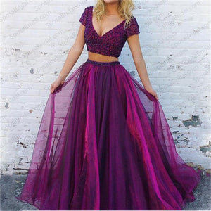Two Pieces Purple Short Sleeves Prom Dress, 2018 Shining Sparkly Prom Dresses, Evening Dress, PD0328