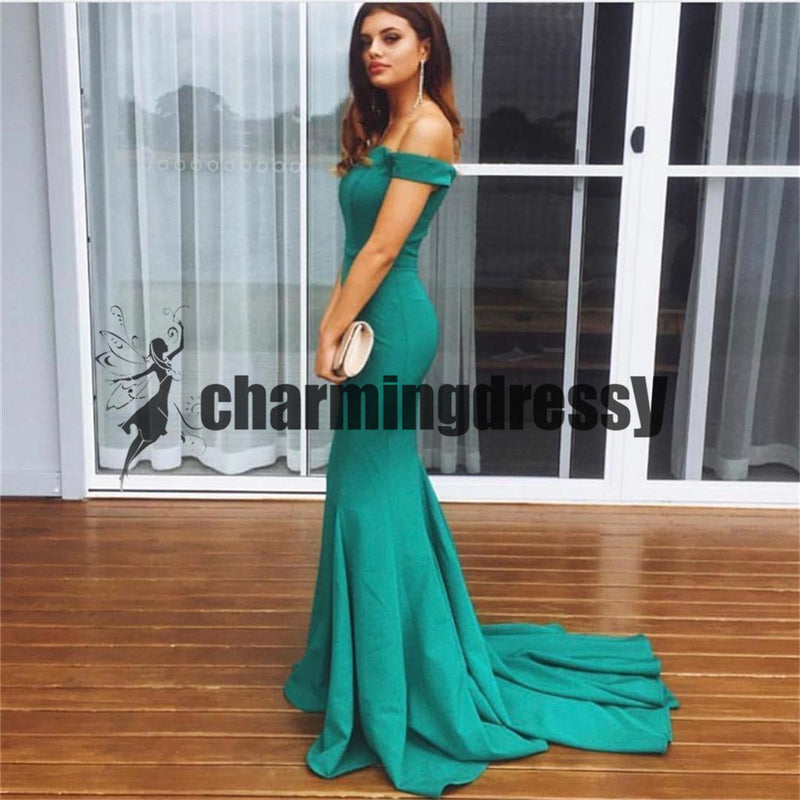 Off Shoulder Mermaid Sexy Popular Fashion Simple Modern Long Prom Dresses with train ,PD0404