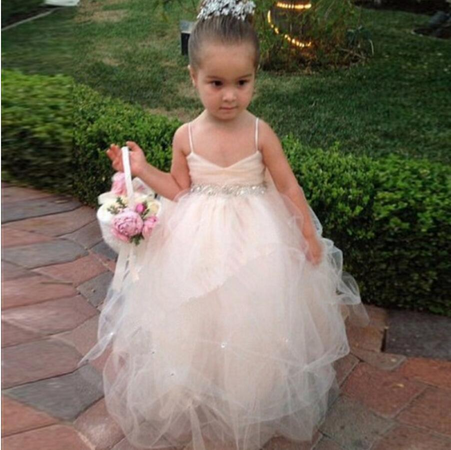 c78fdb52a7d Tulle Beading Spaghetti Straps Bowknot Flower Girl Dresses