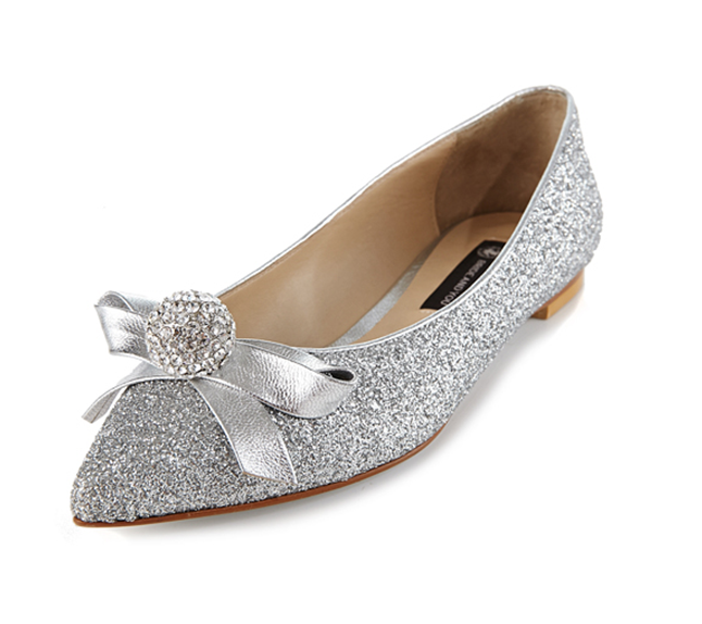 Fashion Women Flat Pointed Toe Lace Sequin Wedding Bridal Shoes, S008