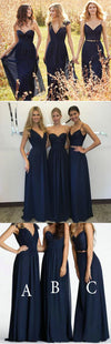Convertible New Design Elegant Lace Chiffon Navy Blue   Inexpensive Bridesmaid Dresses, WG70
