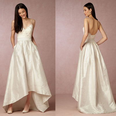 Ivory Spaghetti Lace Top Long A-line Sexy Backless Wedding Party Dresses, WD0079
