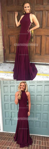 Fashion Unique Design High Neck Burgundy Prom Dresses, 2018 Prom Party Dress, Evening Dress,, PD0430