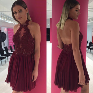 Sexy Backless Halter Chiffon Short Cheap Dark Red Homecoming Dresses 2018, CM520