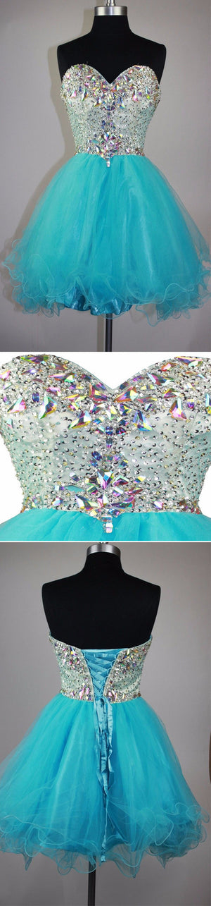 Strapless sweetheart mismatched sparkly mini cute for teens homecoming prom dress,BD0082