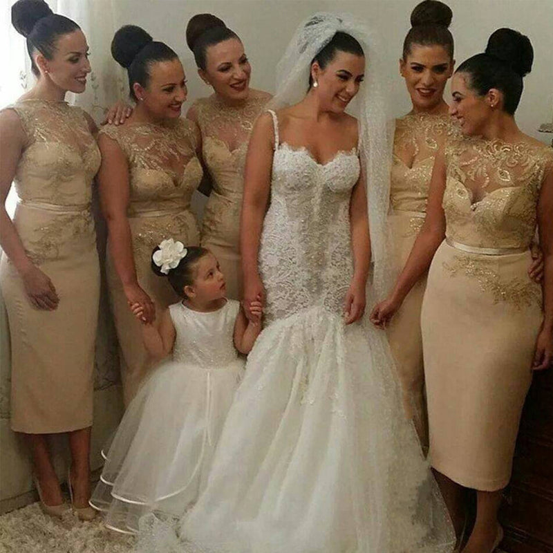 Gorgeous Unique Women Sexy Gold Sequin Lace Short Inexpensive Bridesmaid Dresses, WG83