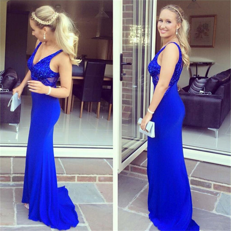Royal Blue Long Mermaid Sparkly V Neck Sexy Prom Dress ,Party Evening Dress ,PD0286