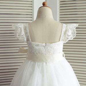 Tulle Lace Backless Flower Girl Dresses, Lovely Tutu Dresses, FGS009