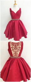 V Neck Red See Through Beading Custom Cheap Homecoming Dresses 2018, CM427