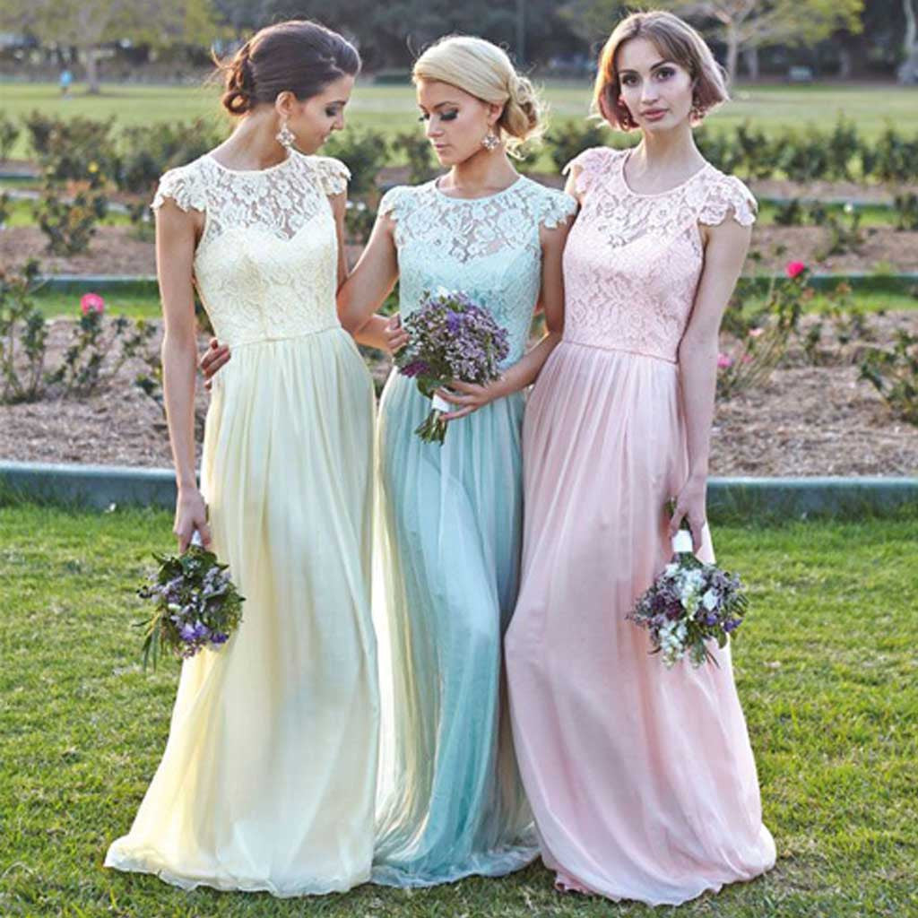 Different Colors Junior Pretty Cap Sleeve Chiffon Lace Long Affordable Bridesmaid Dresses, WG91