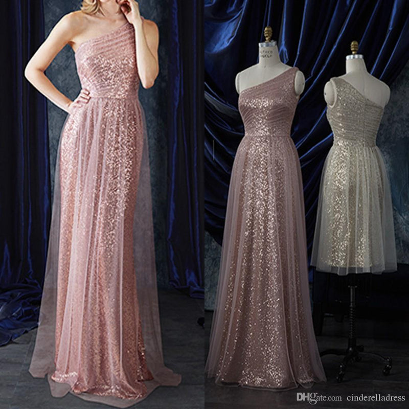 Charming New Sequin Tulle One Shoulder Prom Dresses, Sparkly Popular Bridesmaid Dresses, PD0321