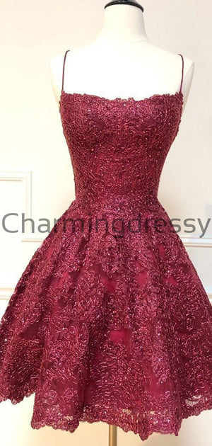 A-Line Burgundy Lace Modest Unique Homecoming Dresses BD0422