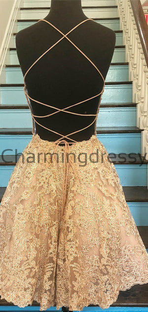A-Line Champagne Lace Modest Unique Homecoming Dresses BD0423