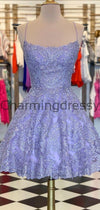A-Line Lilac Lace Modest Unique Homecoming Dresses BD0428
