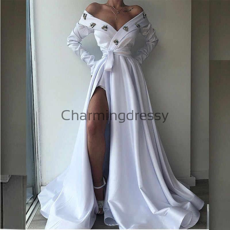 A-LineLong Sleeves White Satin Elegant Formal Long Prom Dresses PD2194