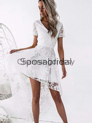 A-Line V-Neck Short Sleeves White Lace Hi-Lo Homecoming Dresses BD0437