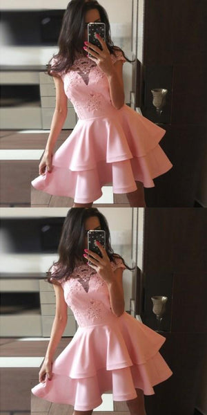 A-Line Cute Cheap Cap Sleeves Short Pink Junior Modest Homecoming Dresses, BD0241