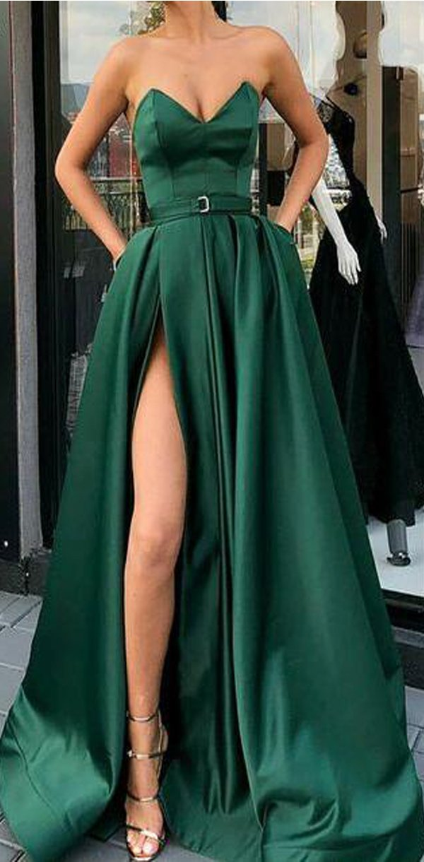 A-Line Best Sale Popular Sweetheart  Split Front Dark Green Long Prom Dresses with Belt Pockets, PD0938