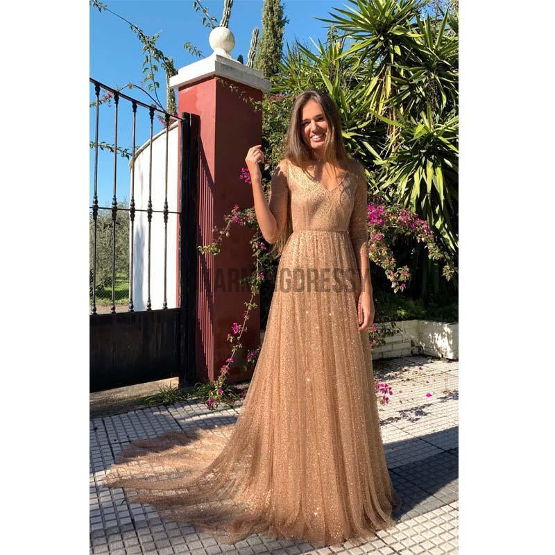 A-Line Champage Sequin Tulle V-Neck Sparkly Stunning Long Prom Dresses PD1966