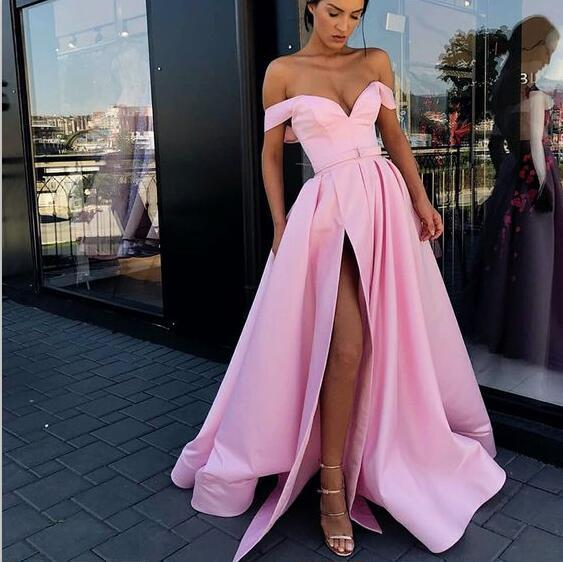 A-Line Charming  Off Shoulder Sweep Train Split Front Pink Best Sale Prom Dresses with Belt, PD0939
