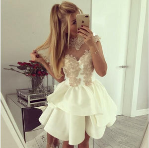 A-Line Crew Neck Cap Sleeves Appliques Junior Cheap Popular Homecoming Dresses, BD0242