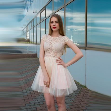 Cap Sleeves See-Through Cheap Free Custom Junior Short  Homecoming Dress with Lace, BD0245