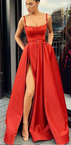 A-Line Custom Elegant Spaghetti Straps  Sweep Train Split Front Red Prom Dresses with Belt, PD0940
