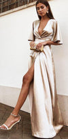 A-Line Deep V-Neck Cheap Modest Satin Evening Prom Dress with Split, PD0909 - SposaBridal