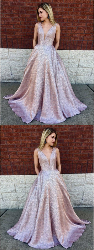 A-Line Deep V-Neck Long Lilac Printed Satin Prom Dresses with Pockets, 2019 paert dress, PD0835 - SposaBridal