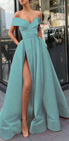 A-Line Elegant  Blue Charming Free Custom Long Women Formal Prom Dresse,Evening Gowns 2019 with Split , PD0941
