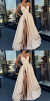 A-Line Formal Custom Spaghetti Straps Sweep Train Split Front Prom Dresses with Belt, PD0943