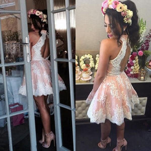 Popular Modest Junior High Neck Appliques Short Lace Homecoming Dresses, BD0247