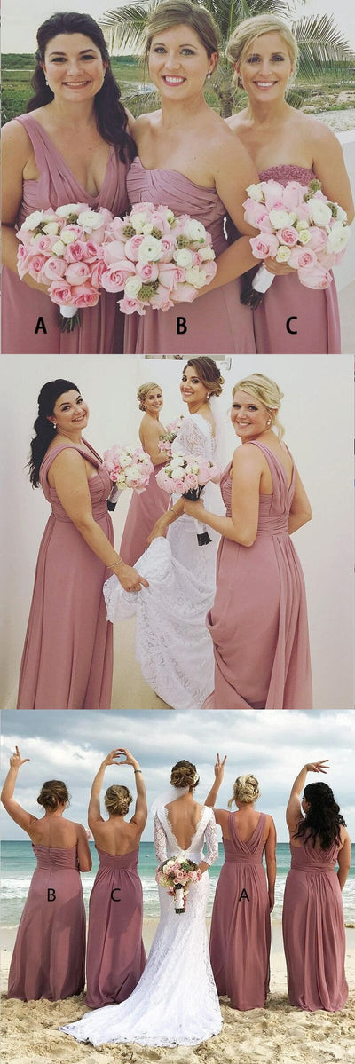 A-Line  Long Dusty Pink Chiffon Cheap Modest Sexy Unique Soft Elegant Hot Sale Mismatched Bridesmaid Dresses Online, WG259