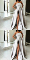 A-Line Most Popular Off Shoulder Sweep Train Split Front Grey Prom Dresses with Belt online , PD0944