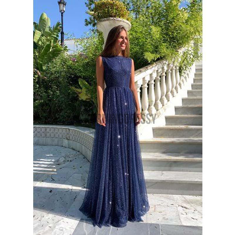 A-Line Navy Blue Sequin Sleeveless Tulle V-Neck Sparkly Long Prom Dresses PD1968