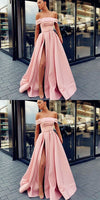 A-Line Off Shoulder Long Cheap Sweep Train Split Front Pink Prom Dresses with Belt, PD0945