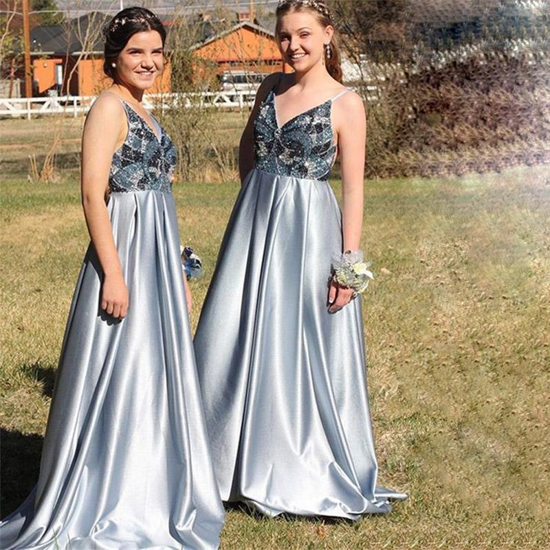 A-Line Spaghetti Straps Backless Blue Popular Modest Elegant Prom Dress with Beading,bridesmaid dresses,WG379