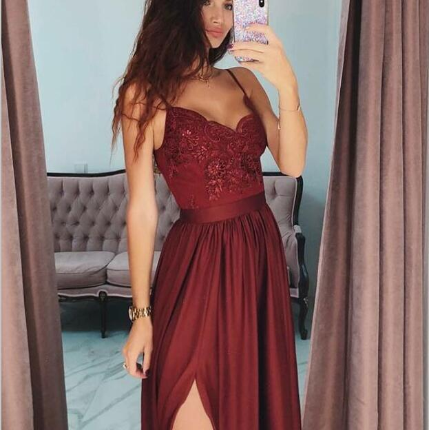 A-Line Spaghetti Straps Side Split Cheap Modest Long Burgundy Party Prom Dresses,evening dress, PD0857 - SposaBridal