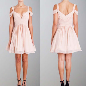 A-Line Straps Pink Short Chiffon Homecoming Dress, Off the Shoulder Bridesmaid Dresses, WG258
