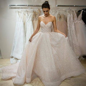 A-Line Sweetheart Sleeveless Wedding Dress ,Prom Dress, Simple Cheap Custom Prom Dresses PD0341