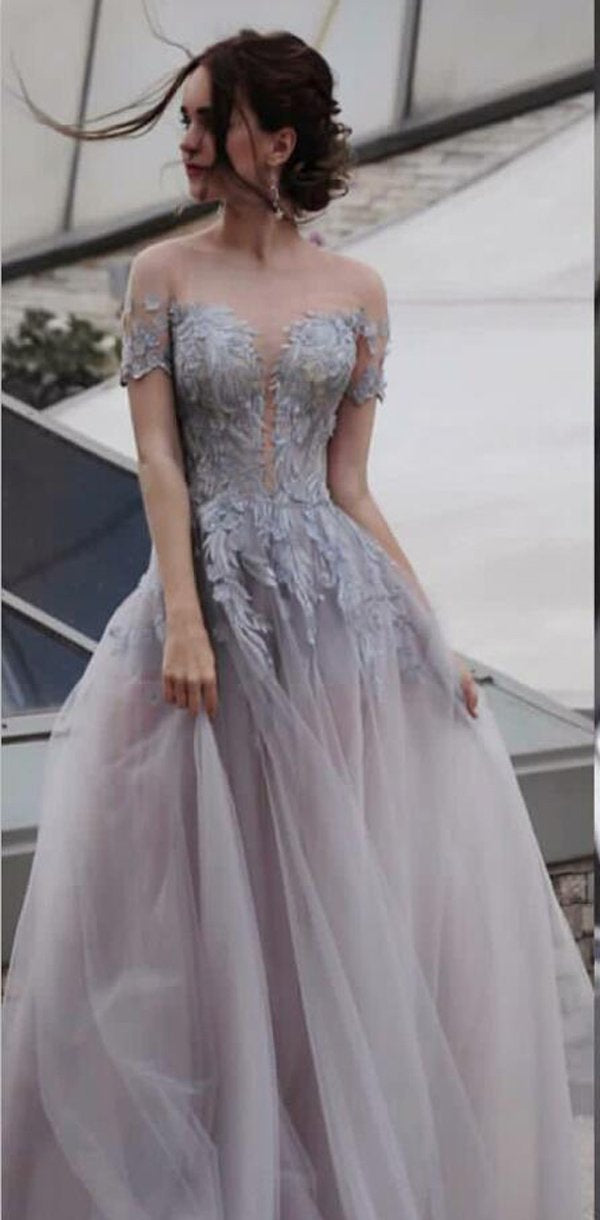 A-Line Tulle Appliques Short  Sleeve Modest Elegant Party Prom Dresses,PD1051 - SposaBridal