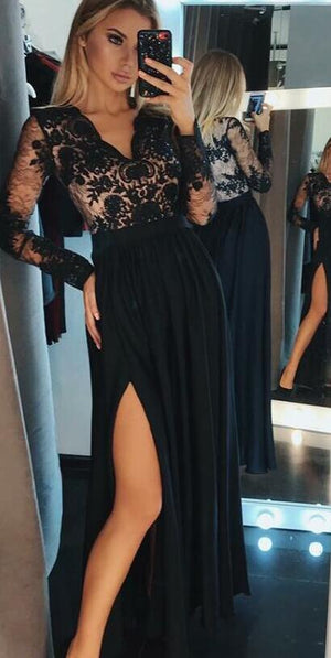 A-Line V-Neck Long Sleeves Black Chiffon Evening Prom Dresses, PD0858 - SposaBridal