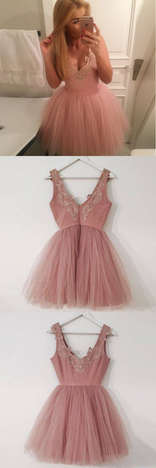 A-Line V-Neck Short Blush Appliques Homecoming Dress , Short Bridesmaid Dresses, WG102