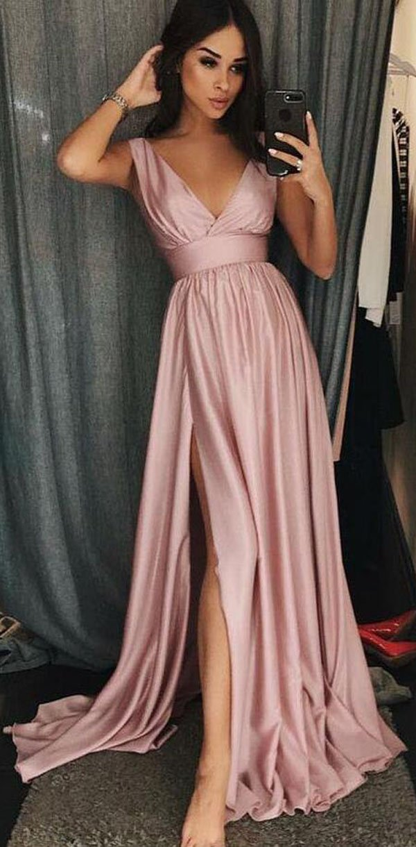 A-Line V-Neck Sleeves Pink Satin Simple Soft Prom Dresses with Split, Evening Dress , PD1145