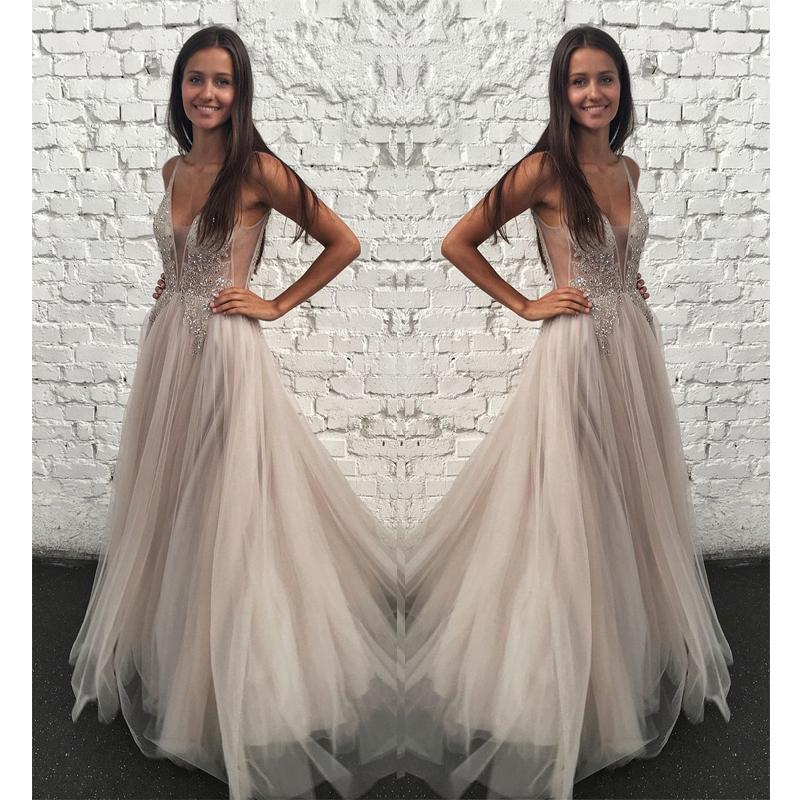 A-Line V-neck Floor-Length Gorgeous Sparkly Fashion Prom Dresses with Beading,PD1097