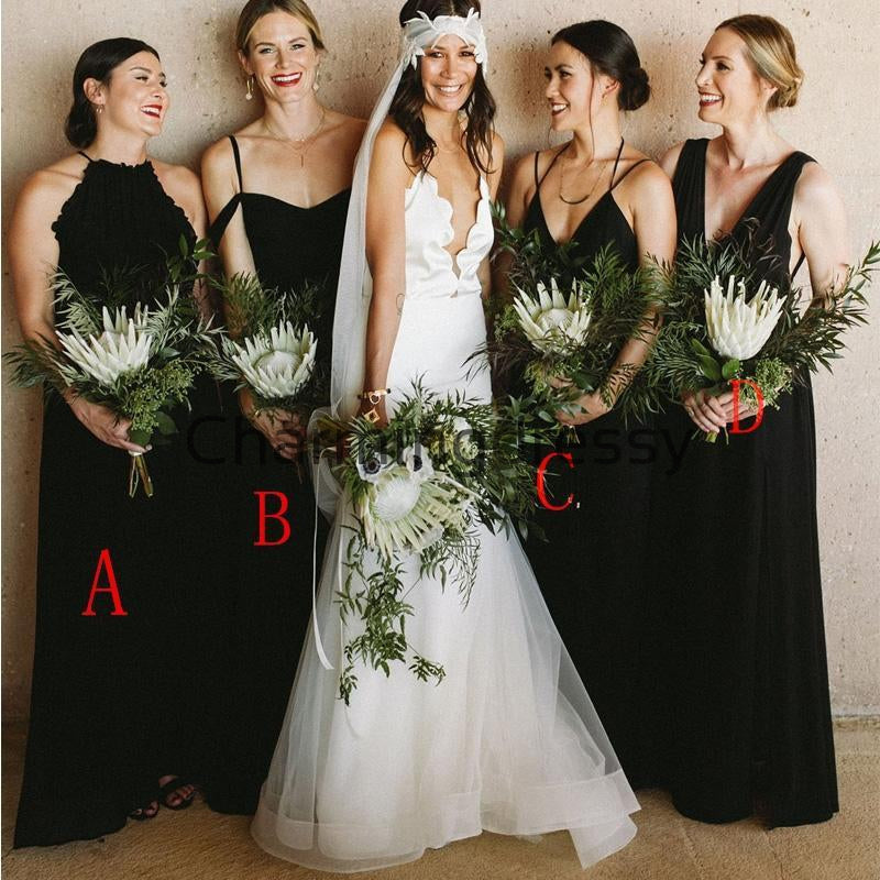 A-line Black Long Chiffon Mismatched Long Beach Bridesmaid Dresses WG841