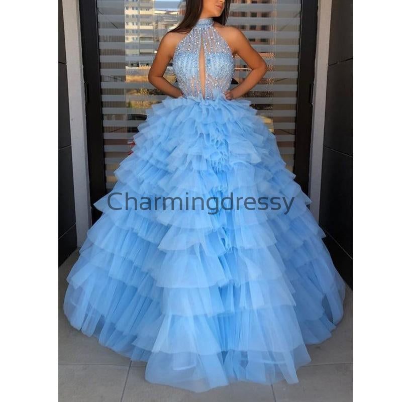 A-line Blue High Neck Tulle Gorgeous Long Prom Dresses, Ball Gown PD2181