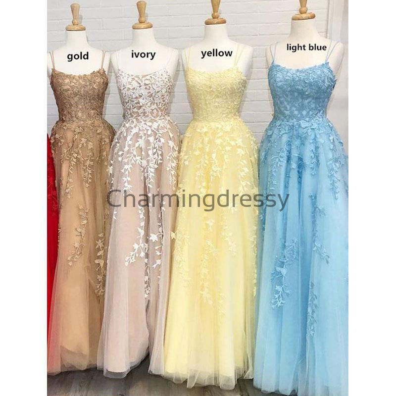 A-line Blue Yellow Gold Lace Straps Modest Prom Dresses PD2136