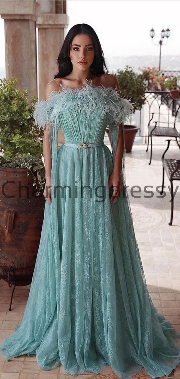 A-line Charming Lace Off the Shoulder Green Modest Prom Dresses PD2182
